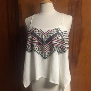 Express Handkerchief Sequin Top New Med White